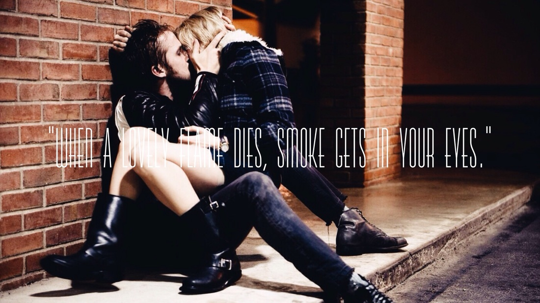 Colored Photograph from Blue Valentine Starring Ryan Gosling and Michelle Williams with Lyrics from Smoke Gets in Your Eyes by The Platters.
